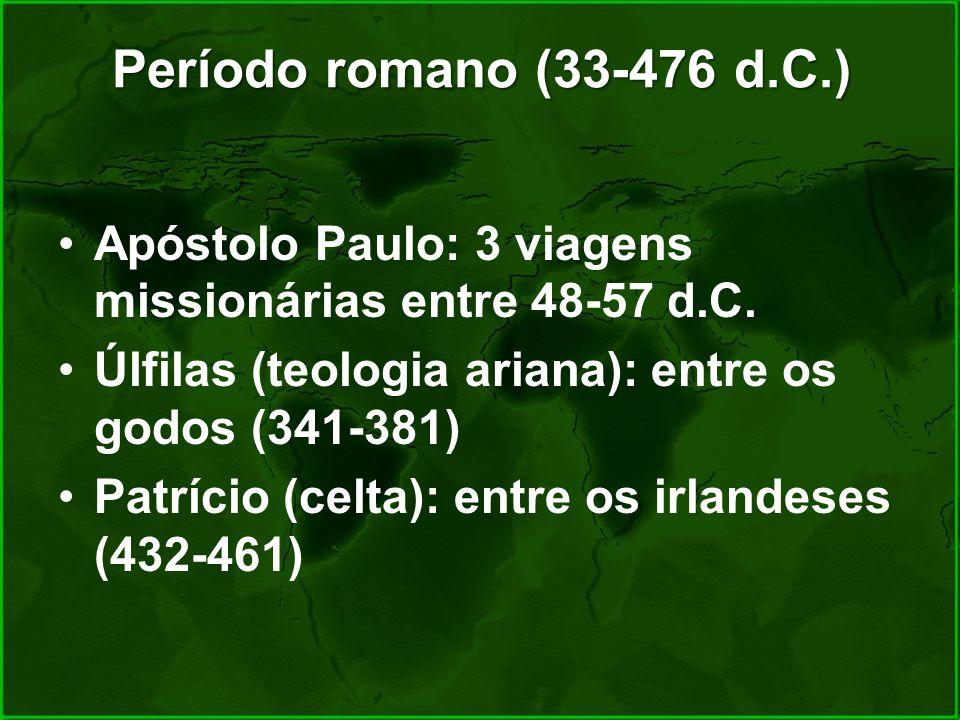 Período romano (33-476 d.C.) Apóstolo Paulo: 3 viagens missionárias entre 48-57 d.C. Úlfilas (teologia ariana): entre os godos (341-381)