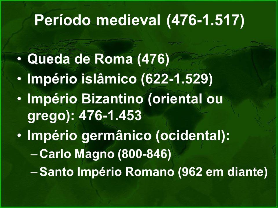Período medieval (476-1.517) Queda de Roma (476)