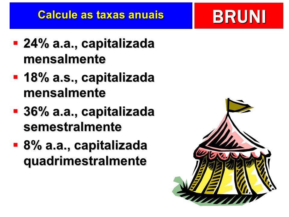 Calcule as taxas anuais
