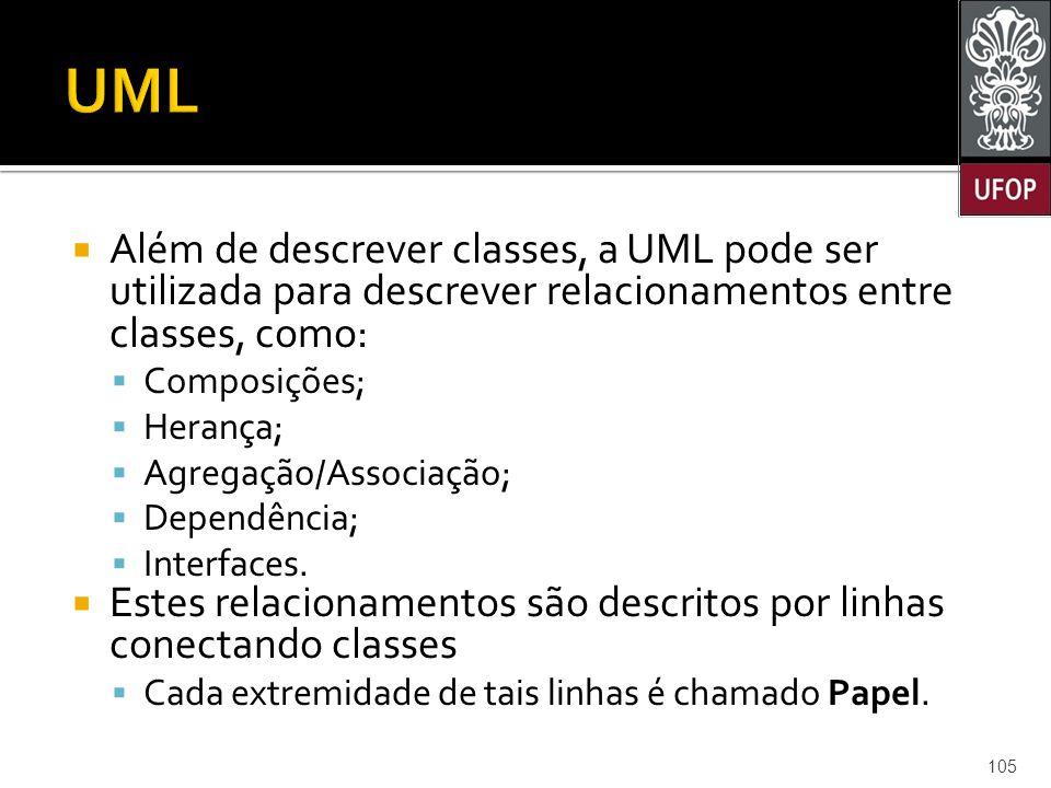 UML Além de descrever classes, a UML pode ser utilizada para descrever relacionamentos entre classes, como: