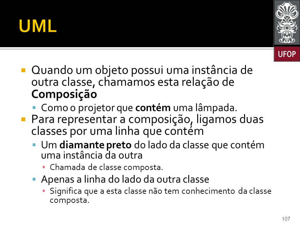 UML Quando um objeto possui uma instância de outra classe, chamamos esta relação de Composição. Como o projetor que contém uma lâmpada.