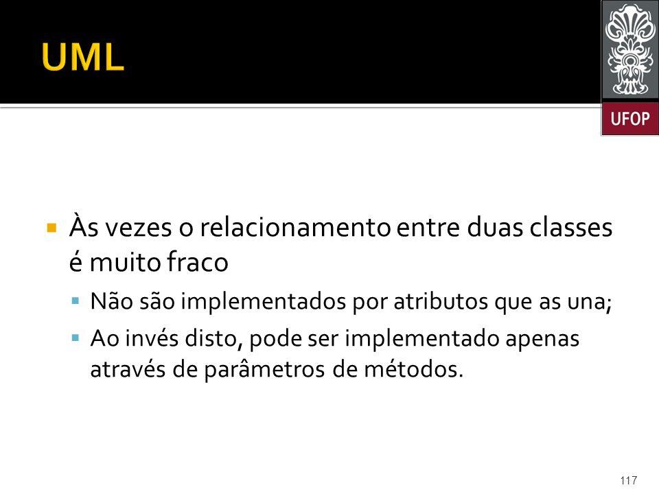 UML Às vezes o relacionamento entre duas classes é muito fraco