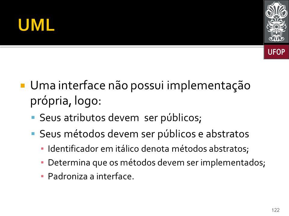 UML Uma interface não possui implementação própria, logo: