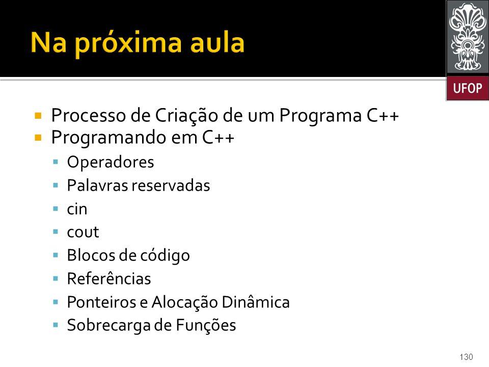 Na próxima aula Processo de Criação de um Programa C++