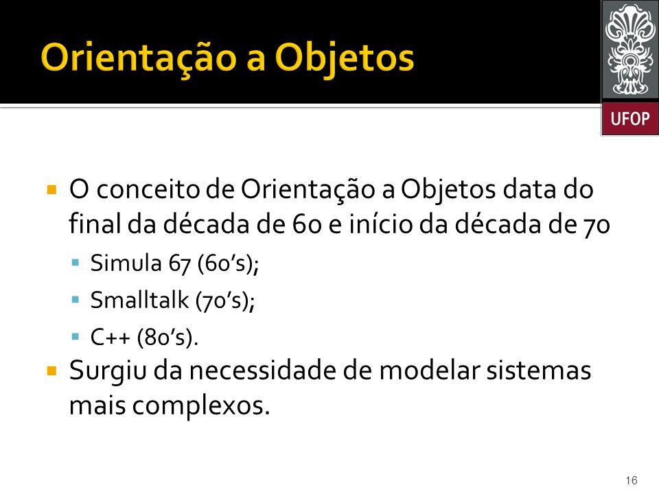 Orientação a Objetos O conceito de Orientação a Objetos data do final da década de 60 e início da década de 70.