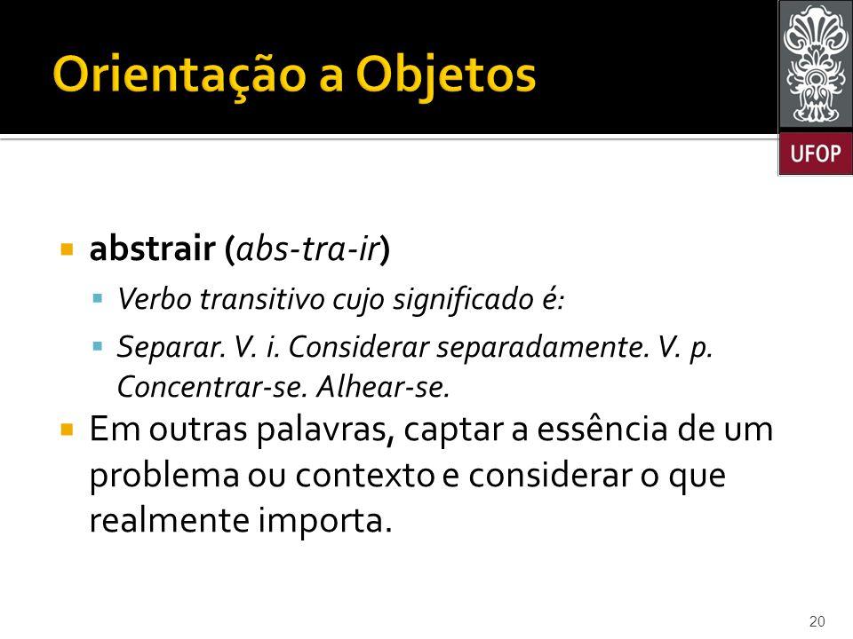 Orientação a Objetos abstrair (abs-tra-ir)