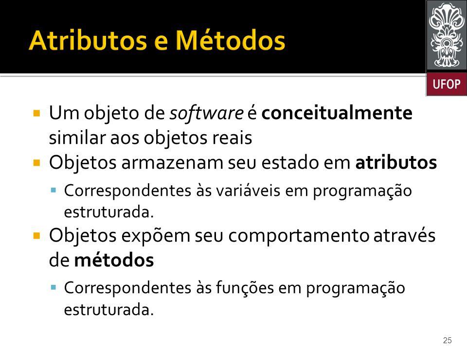 Atributos e Métodos Um objeto de software é conceitualmente similar aos objetos reais. Objetos armazenam seu estado em atributos.