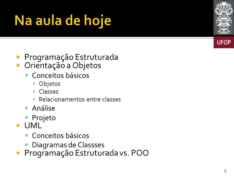 Na aula de hoje Programação Estruturada Orientação a Objetos UML