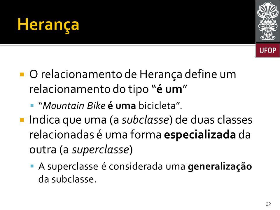 Herança O relacionamento de Herança define um relacionamento do tipo é um Mountain Bike é uma bicicleta .