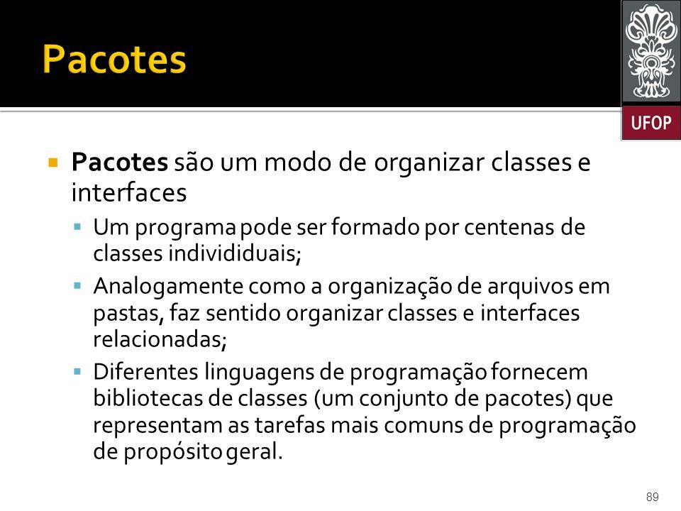 Pacotes Pacotes são um modo de organizar classes e interfaces