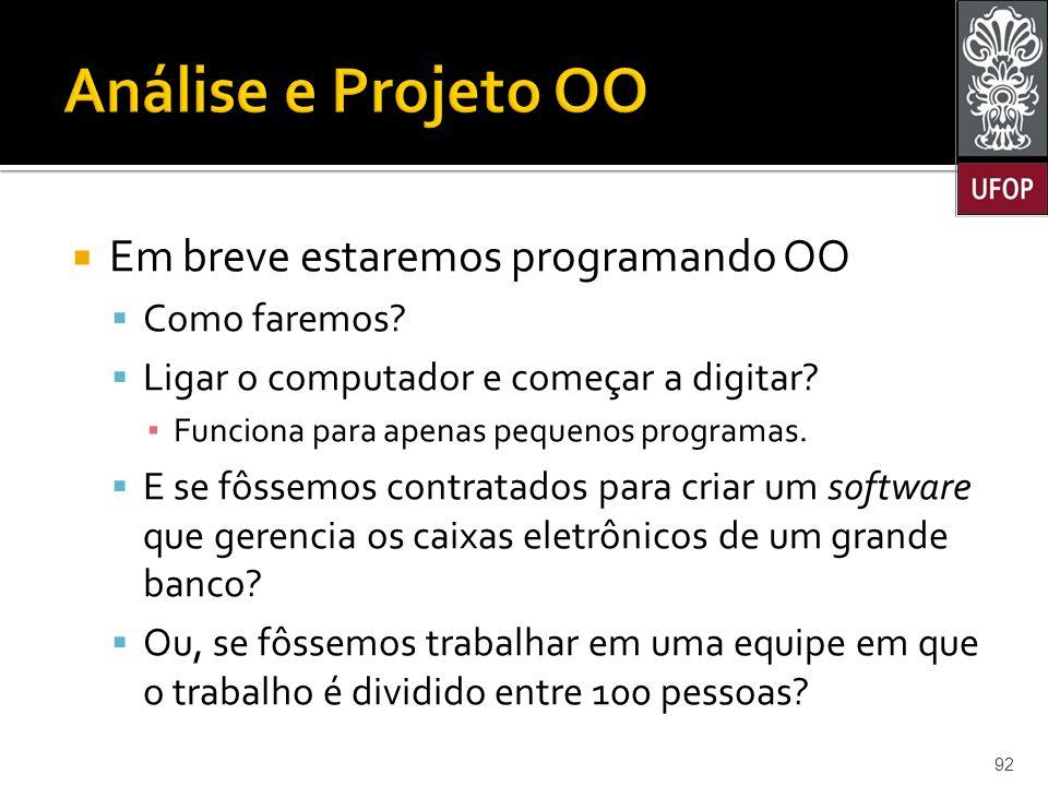 Análise e Projeto OO Em breve estaremos programando OO Como faremos