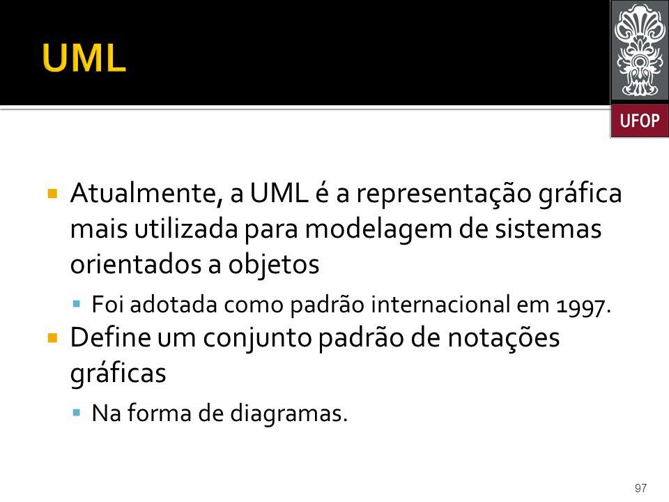 UML Atualmente, a UML é a representação gráfica mais utilizada para modelagem de sistemas orientados a objetos.