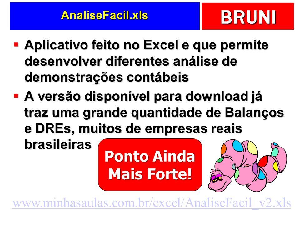 AnaliseFacil.xls Aplicativo feito no Excel e que permite desenvolver diferentes análise de demonstrações contábeis.