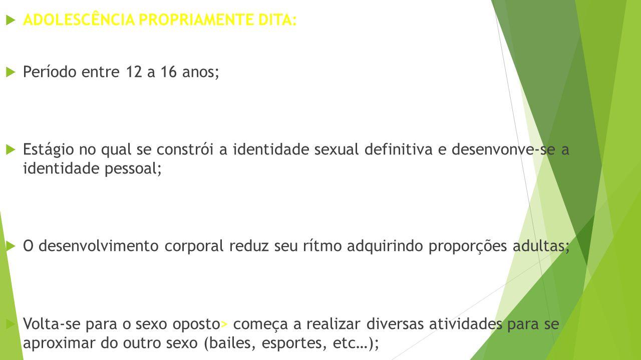 ADOLESCÊNCIA PROPRIAMENTE DITA: