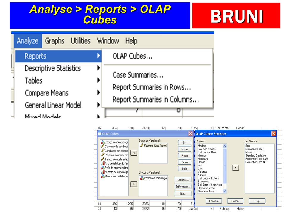 Analyse > Reports > OLAP Cubes