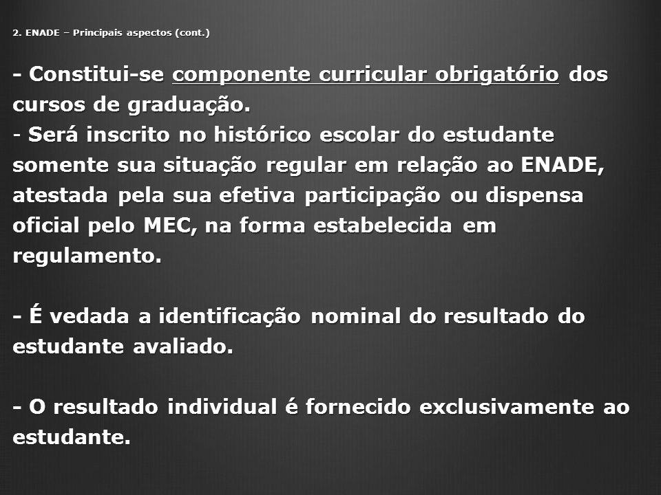 - É vedada a identificação nominal do resultado do estudante avaliado.