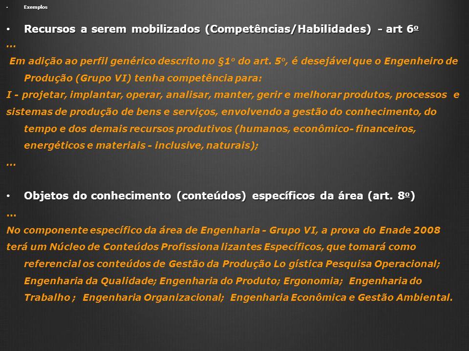 Recursos a serem mobilizados (Competências/Habilidades) - art 6o