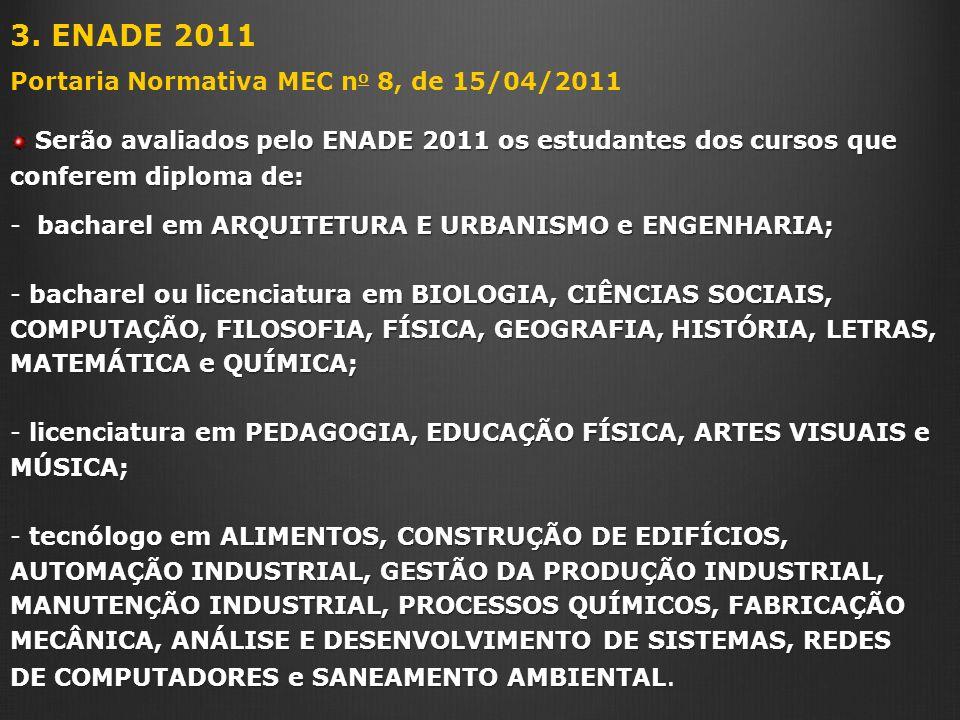 3. ENADE 2011 Portaria Normativa MEC no 8, de 15/04/2011