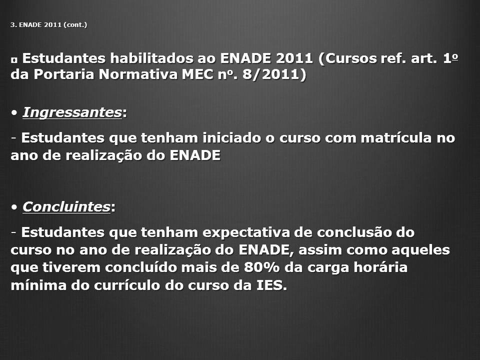 3. ENADE 2011 (cont.) Estudantes habilitados ao ENADE 2011 (Cursos ref. art. 1o da Portaria Normativa MEC no. 8/2011)