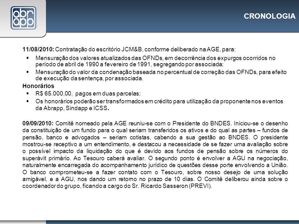 CRONOLOGIA 11/08/2010: Contratação do escritório JCM&B, conforme deliberado na AGE, para: