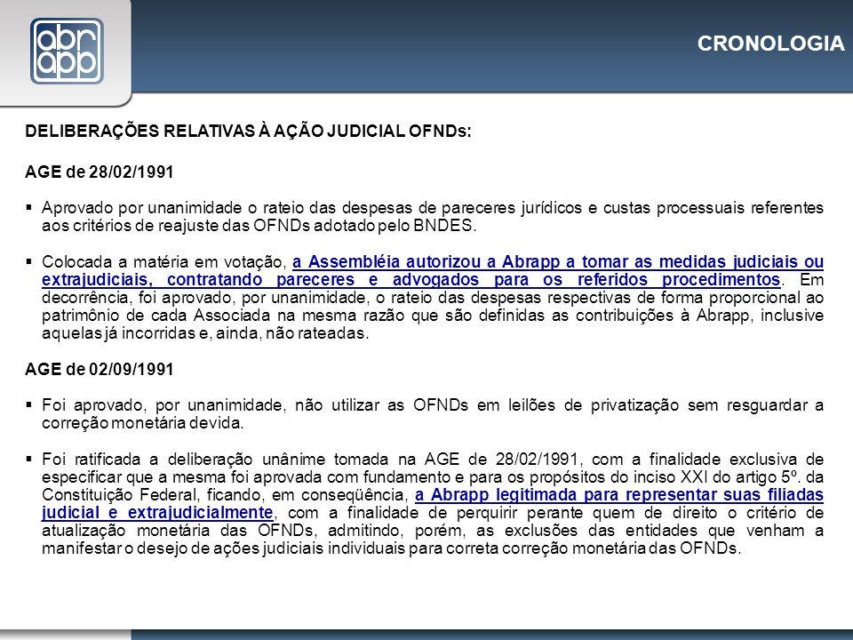 CRONOLOGIA DELIBERAÇÕES RELATIVAS À AÇÃO JUDICIAL OFNDs: