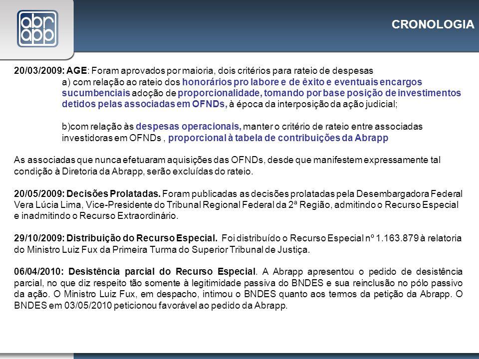 CRONOLOGIA 20/03/2009: AGE: Foram aprovados por maioria, dois critérios para rateio de despesas.