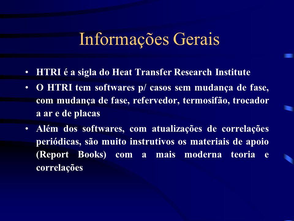 Informações Gerais HTRI é a sigla do Heat Transfer Research Institute