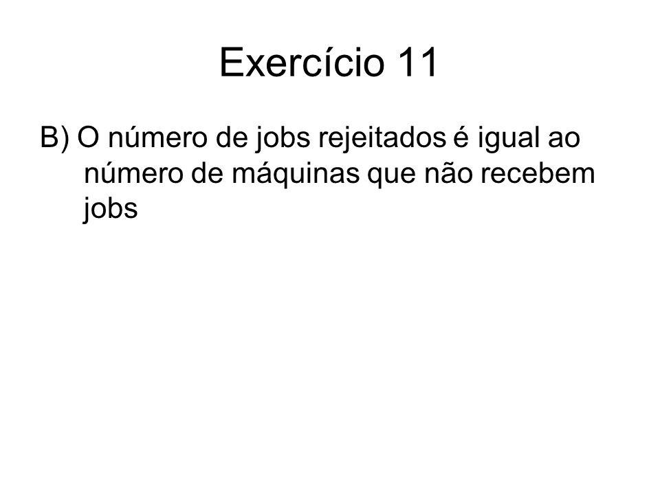 Exercício 11 B) O número de jobs rejeitados é igual ao número de máquinas que não recebem jobs
