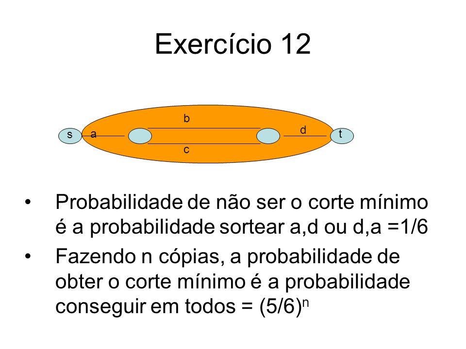 Exercício 12Probabilidade de não ser o corte mínimo é a probabilidade sortear a,d ou d,a =1/6.