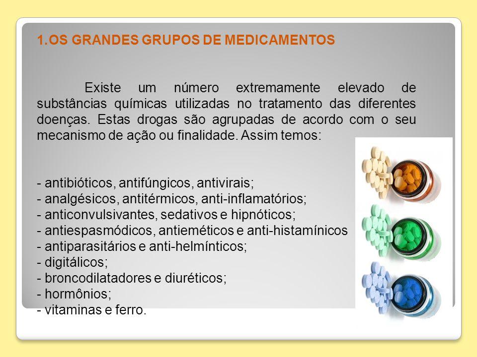 OS GRANDES GRUPOS DE MEDICAMENTOS