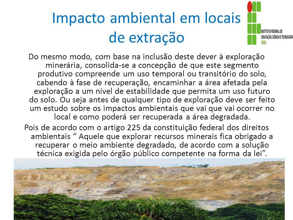 Impacto ambiental em locais de extração