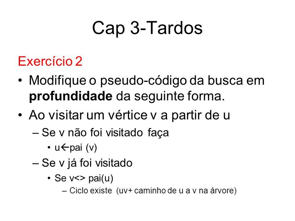 Cap 3-Tardos Exercício 2. Modifique o pseudo-código da busca em profundidade da seguinte forma. Ao visitar um vértice v a partir de u.