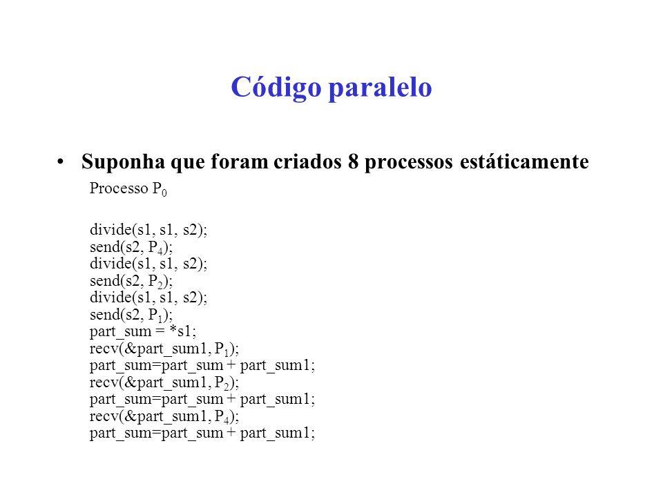 Código paralelo Suponha que foram criados 8 processos estáticamente