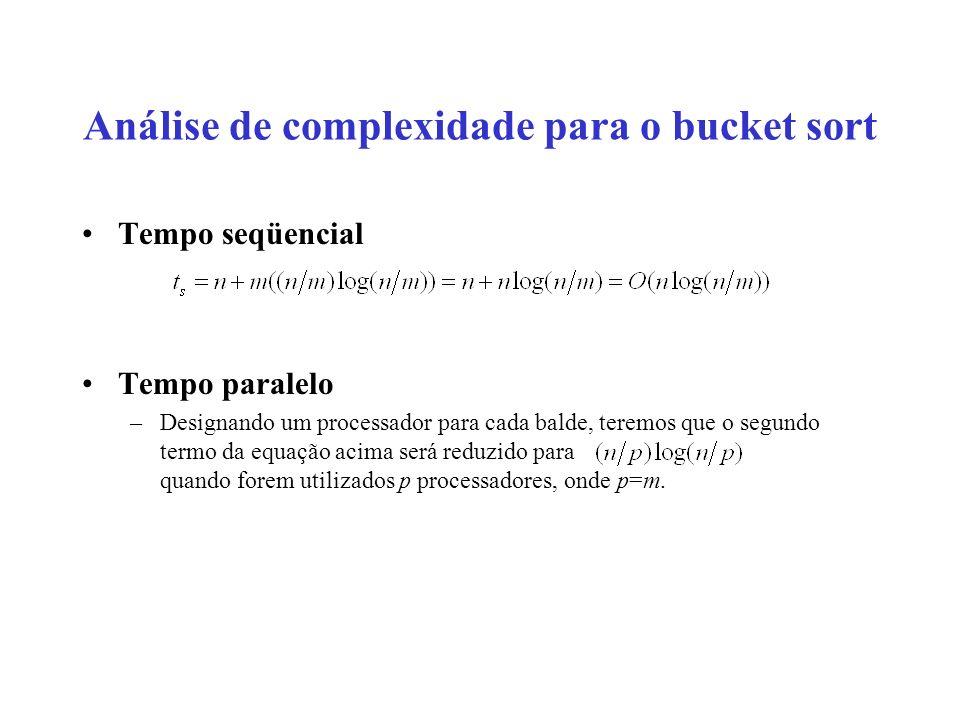 Análise de complexidade para o bucket sort