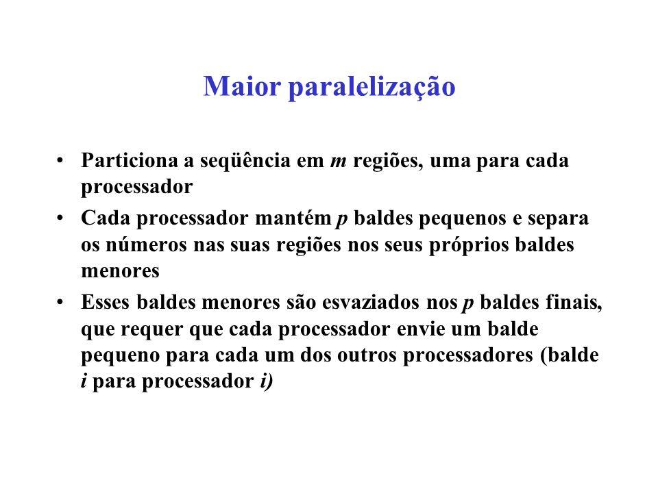 Maior paralelização Particiona a seqüência em m regiões, uma para cada processador.
