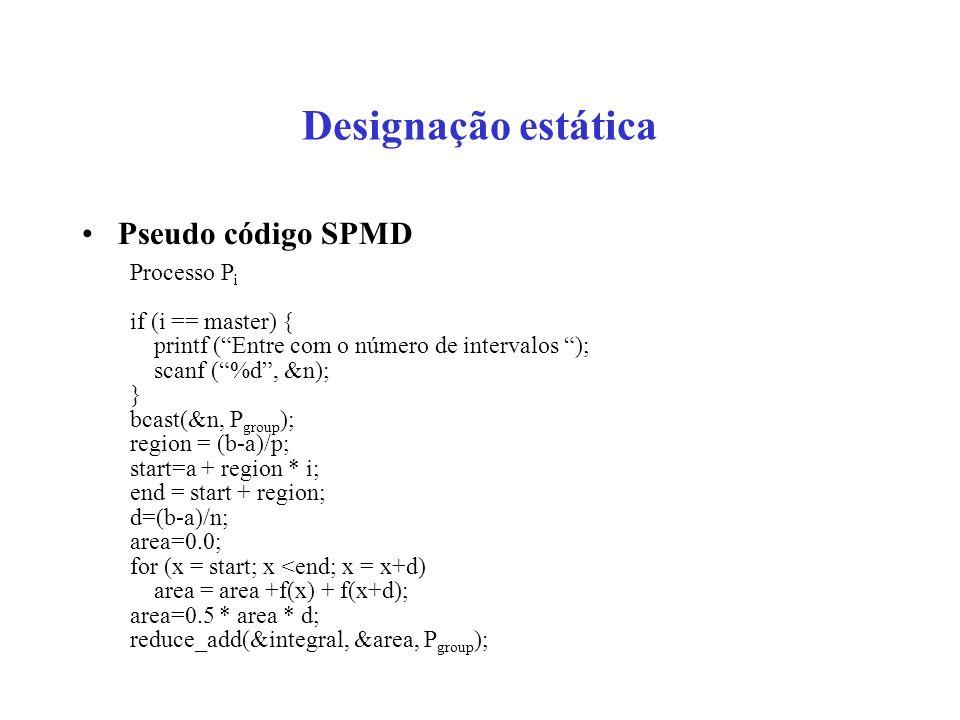Designação estática Pseudo código SPMD Processo Pi if (i == master) {