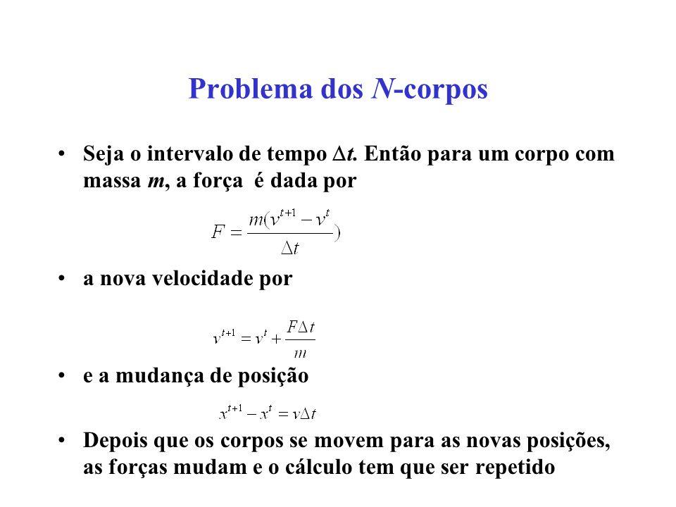 Problema dos N-corpos Seja o intervalo de tempo t. Então para um corpo com massa m, a força é dada por.