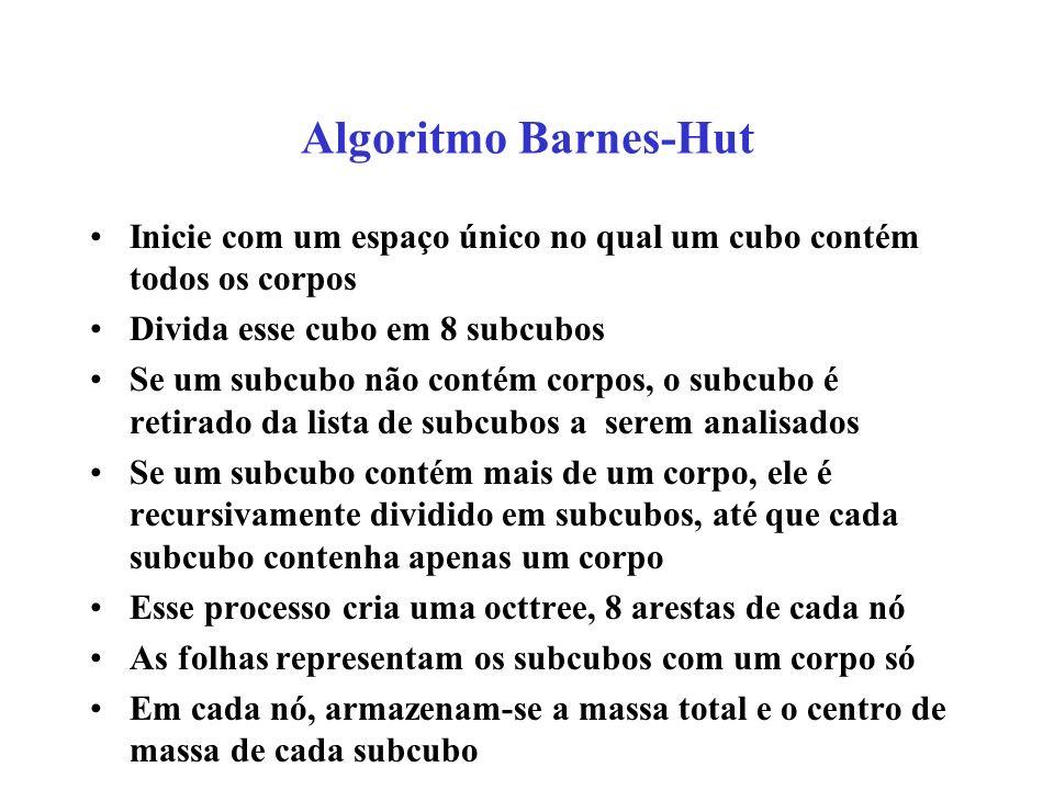 Algoritmo Barnes-Hut Inicie com um espaço único no qual um cubo contém todos os corpos. Divida esse cubo em 8 subcubos.