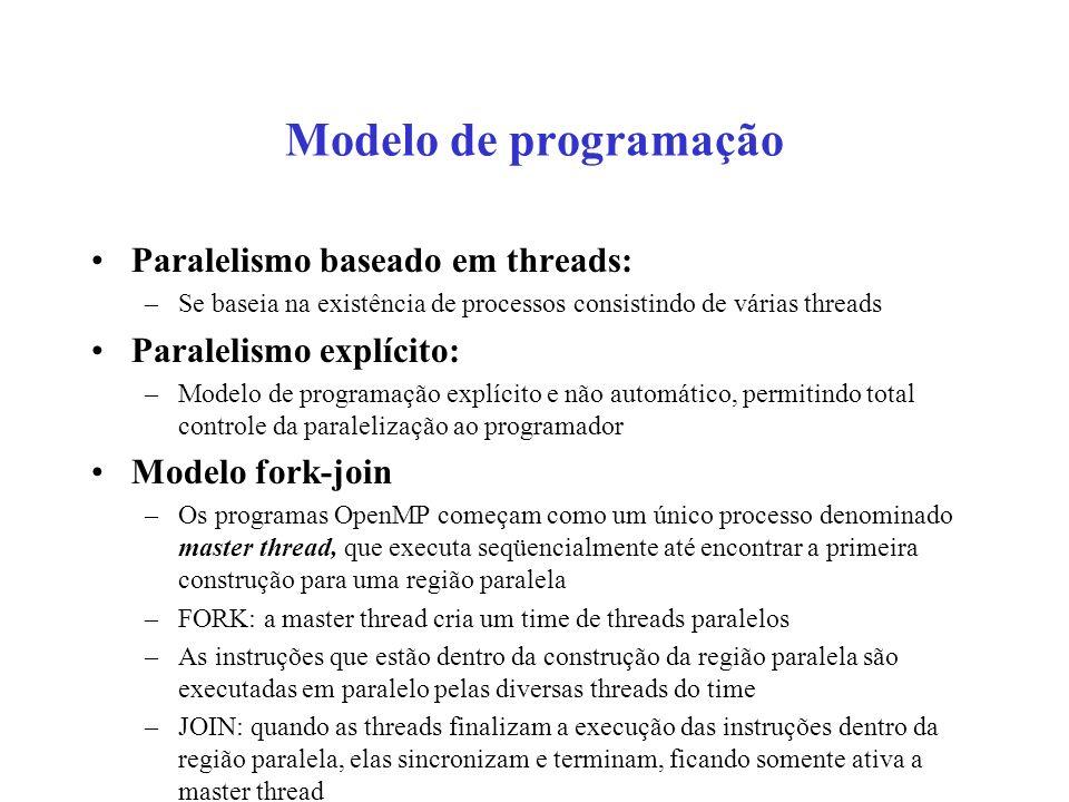 Modelo de programação Paralelismo baseado em threads: