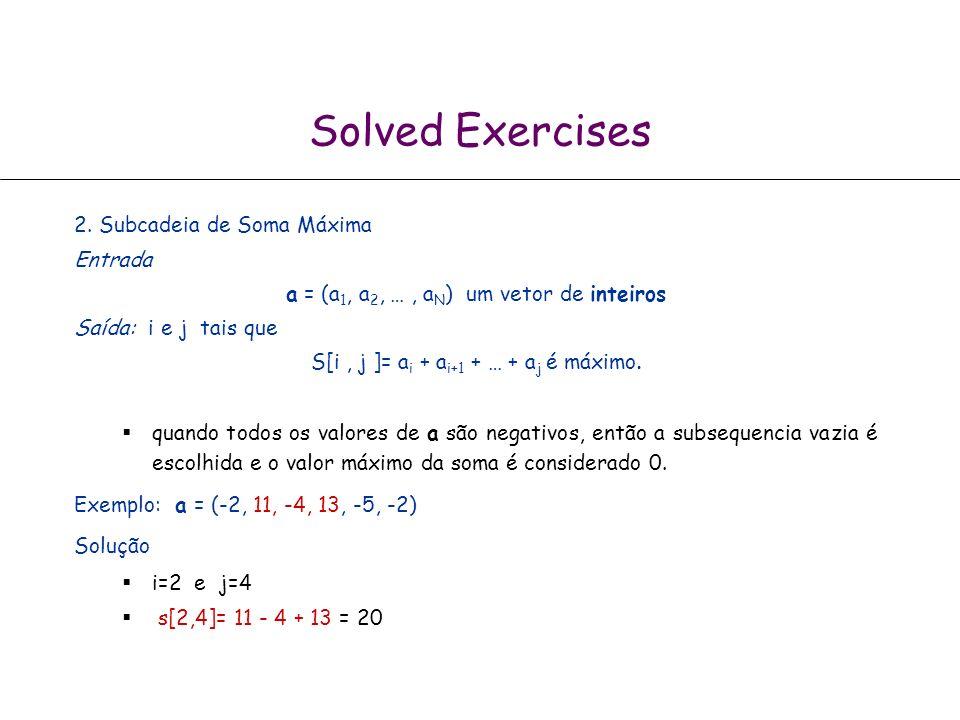 Solved Exercises 2. Subcadeia de Soma Máxima Entrada