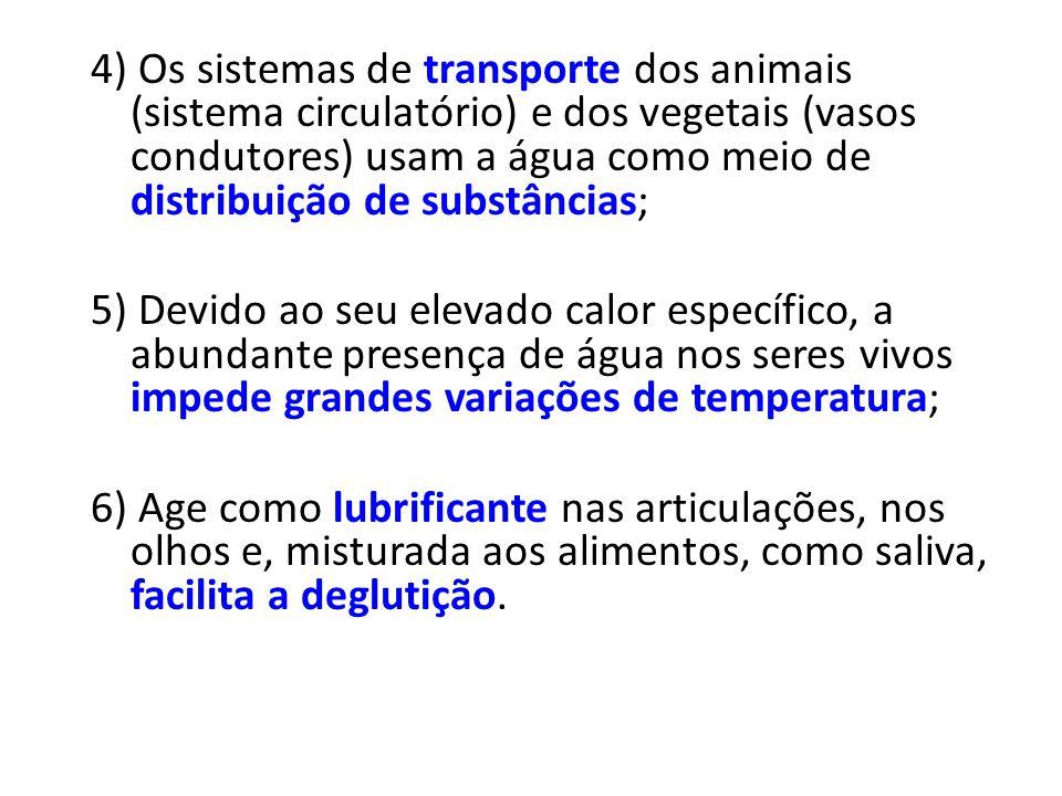 4) Os sistemas de transporte dos animais (sistema circulatório) e dos vegetais (vasos condutores) usam a água como meio de distribuição de substâncias;