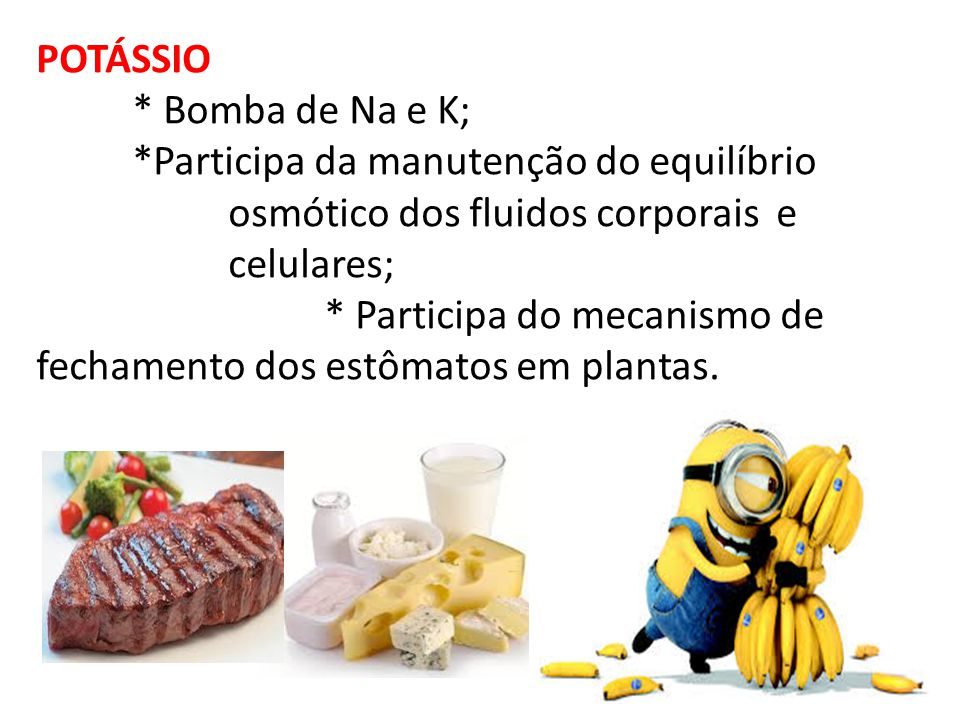 POTÁSSIO * Bomba de Na e K; *Participa da manutenção do equilíbrio. osmótico dos fluidos corporais e.