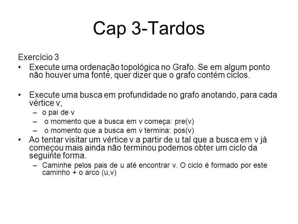 Cap 3-Tardos Exercício 3. Execute uma ordenação topológica no Grafo. Se em algum ponto não houver uma fonte, quer dizer que o grafo contém ciclos.