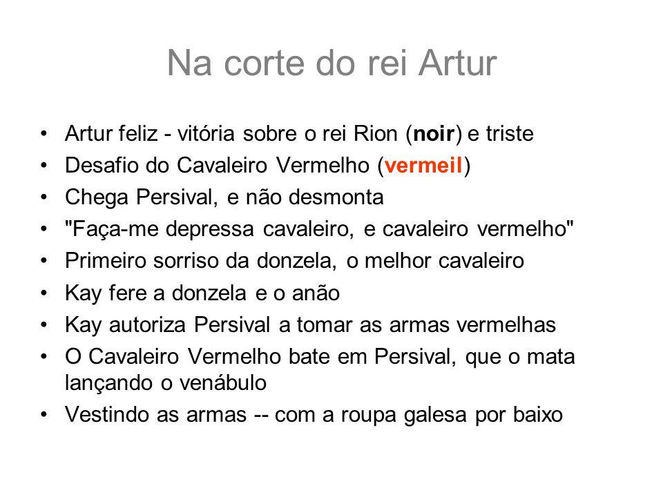 Na corte do rei Artur Artur feliz - vitória sobre o rei Rion (noir) e triste. Desafio do Cavaleiro Vermelho (vermeil)