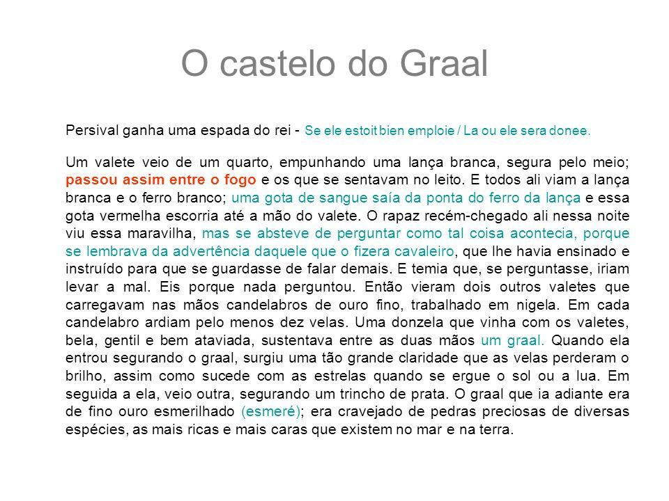 O castelo do GraalPersival ganha uma espada do rei - Se ele estoit bien emploie / La ou ele sera donee.