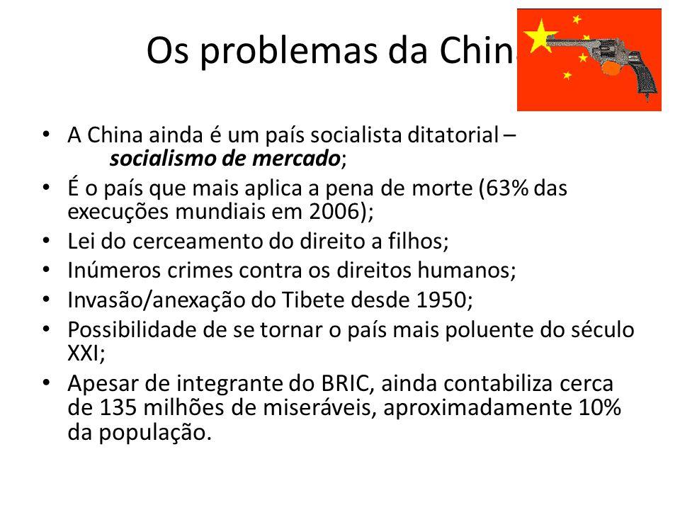 Os problemas da China A China ainda é um país socialista ditatorial – socialismo de mercado;
