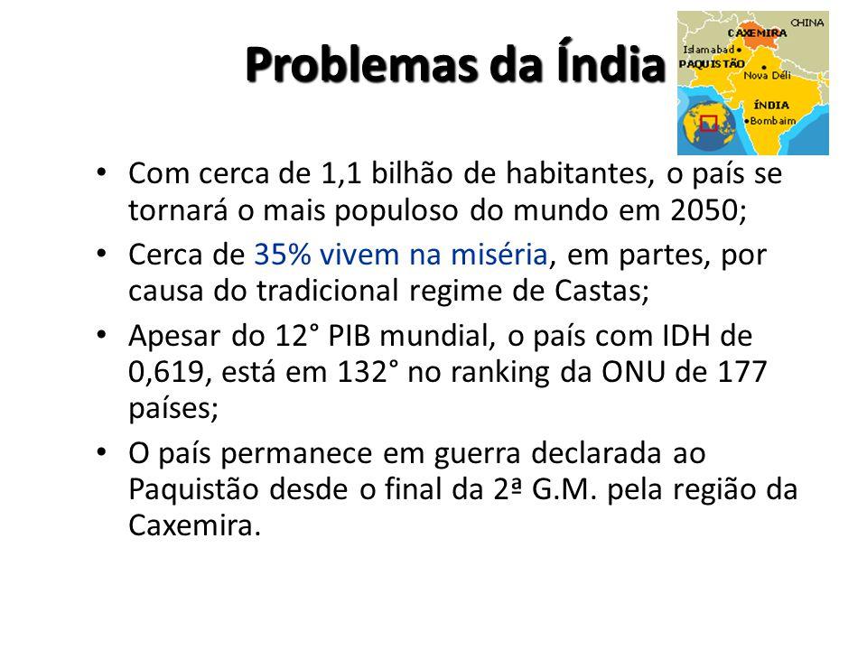 Problemas da Índia Com cerca de 1,1 bilhão de habitantes, o país se tornará o mais populoso do mundo em 2050;