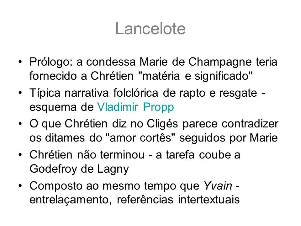 LancelotePrólogo: a condessa Marie de Champagne teria fornecido a Chrétien matéria e significado