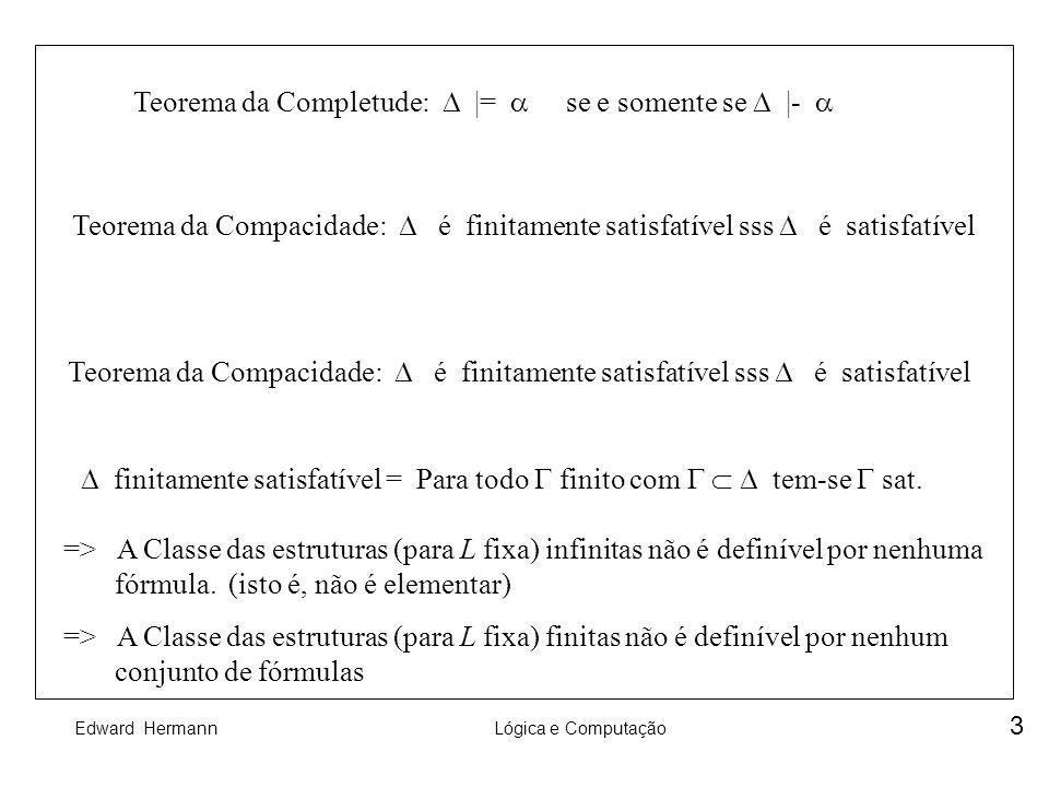 Teorema da Completude:  |=  se e somente se  |- 