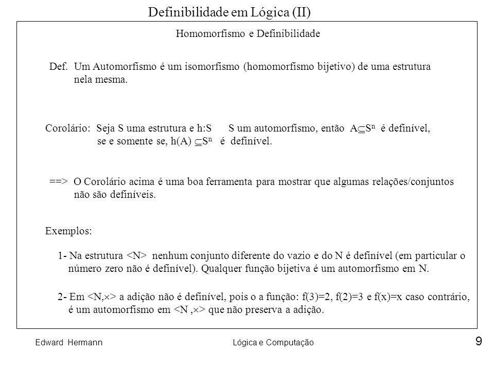 Definibilidade em Lógica (II)